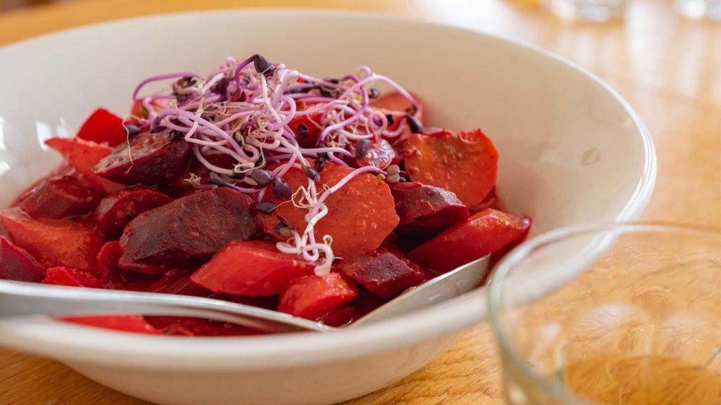 Diner salade share sharing bieten rood waterkers gezond healthy