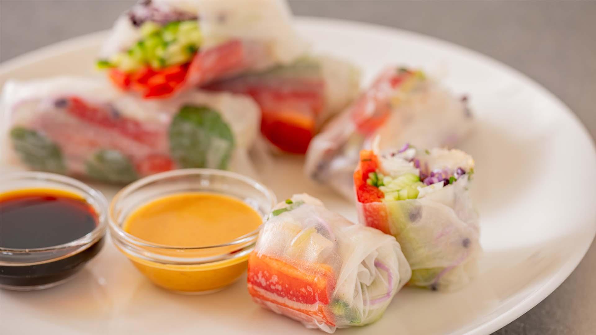 Springroll snack tussendoortje Asian Aziatisch sojasaus gezond biologisch duurzaam