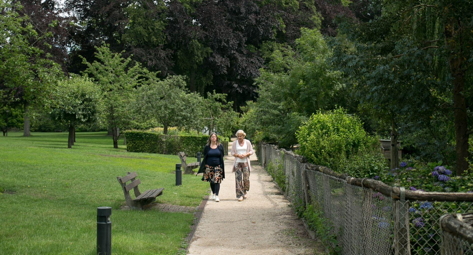 Wandelen lopen samen twee dames rust groen ruimte